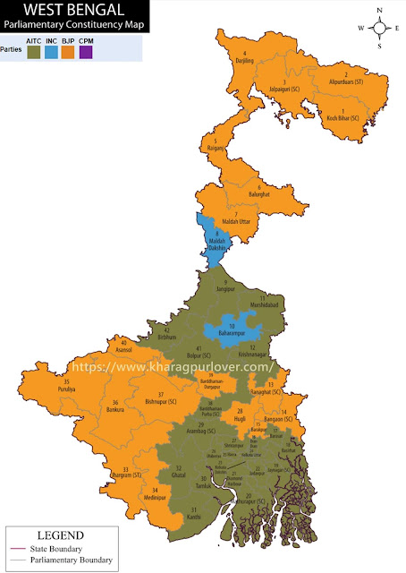West Bengal Parliament Constituency Map 2019