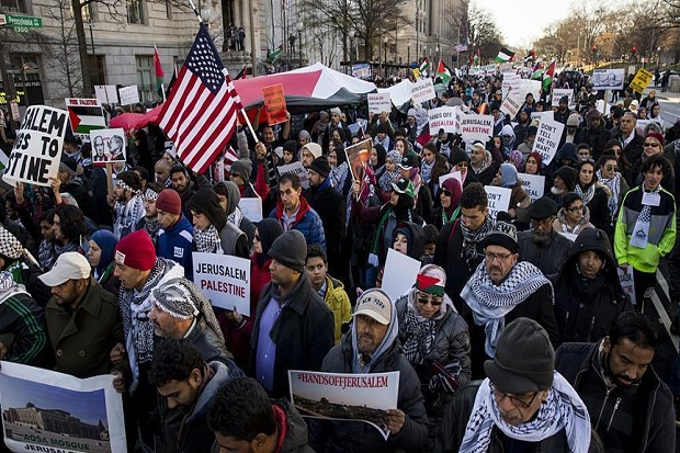 Ribuan Orang Penuhi Jalan Washington, Protes Soal Yerusalem