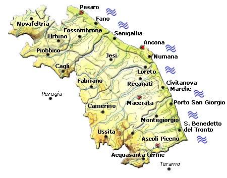 Cartina Fisica E Politica Delle Marche.Mappa Della Citta Di Provincia Regionale Italia Cartina Politica Delle Marche