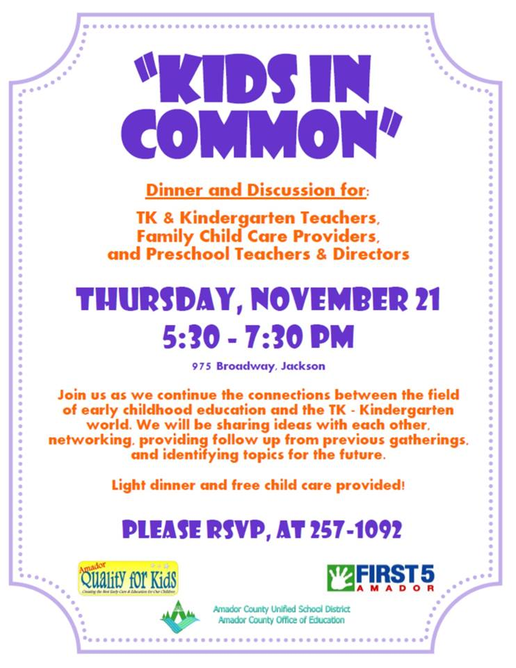 "First 5 Amador: ""Kids in Common"" Dinner & Discussion - Thurs Nov 21"
