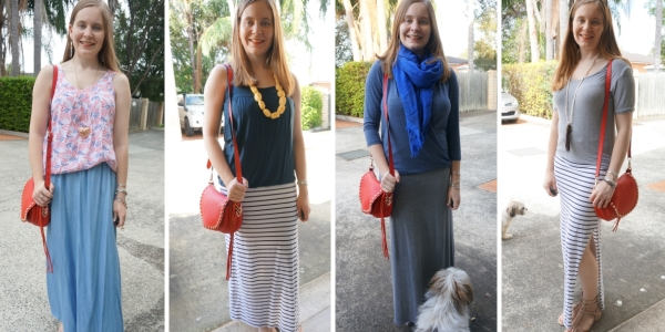 4 Ways to Wear: red saddle bag and maxi skirt outfit ideas | awayfromtheblue