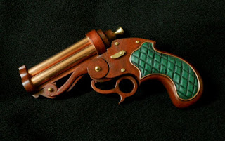 steampunk pistol mahogany brass and copper