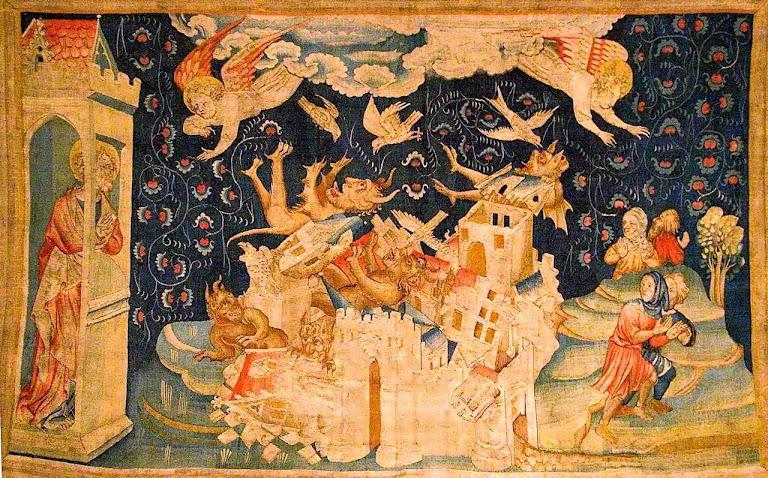 Apocalipse: a destruição de Babilônia, prefigurada pela destruição de Sodoma. Tapeçaria de Angers, França.