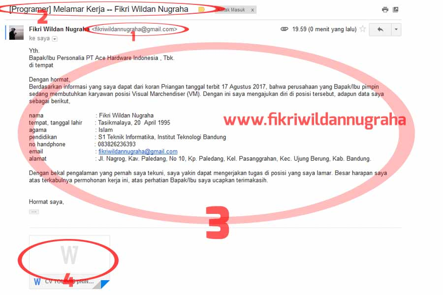 Contoh Daftar Riwayat Hidup Via Email Lewat Hp