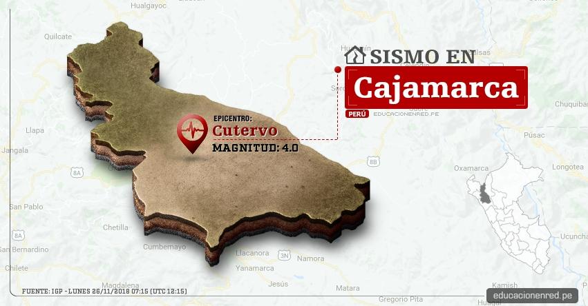 Temblor en Cajamarca de magnitud 4.0 (Hoy Lunes 26 Noviembre 2018) Sismo EPICENTRO Cutervo - Jaén - San Ignacio - Chota - Celendín - Cajabamba - IGP - www.igp.gob.pe
