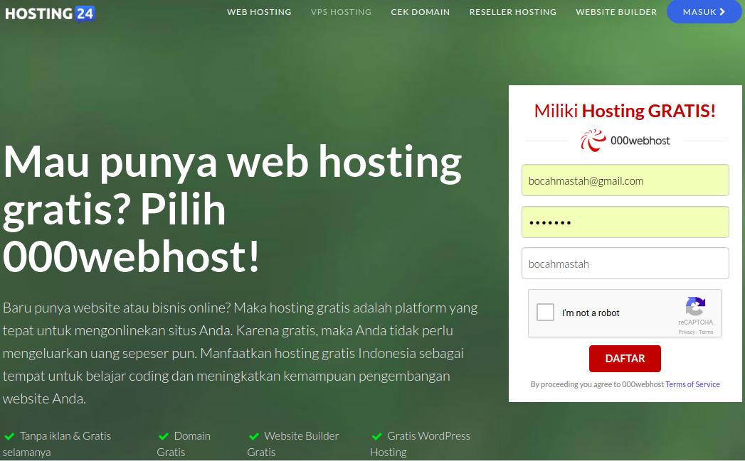 Buka dan Daftar di Web Hosting Gratis