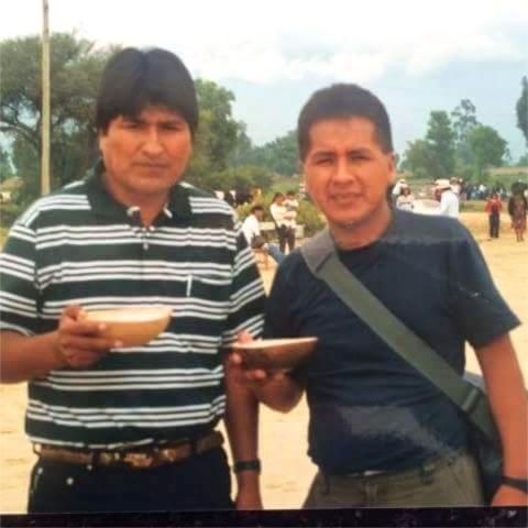 Milton Paniagua junto a Evo Morales