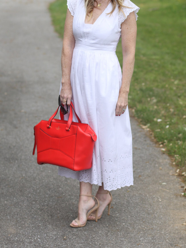 white dress, kate spade beau bag