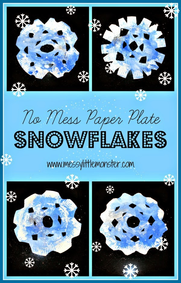 NO MESS paper plate painted snowflakes. A perfect winter craft for babies, toddlers and preschoolers.