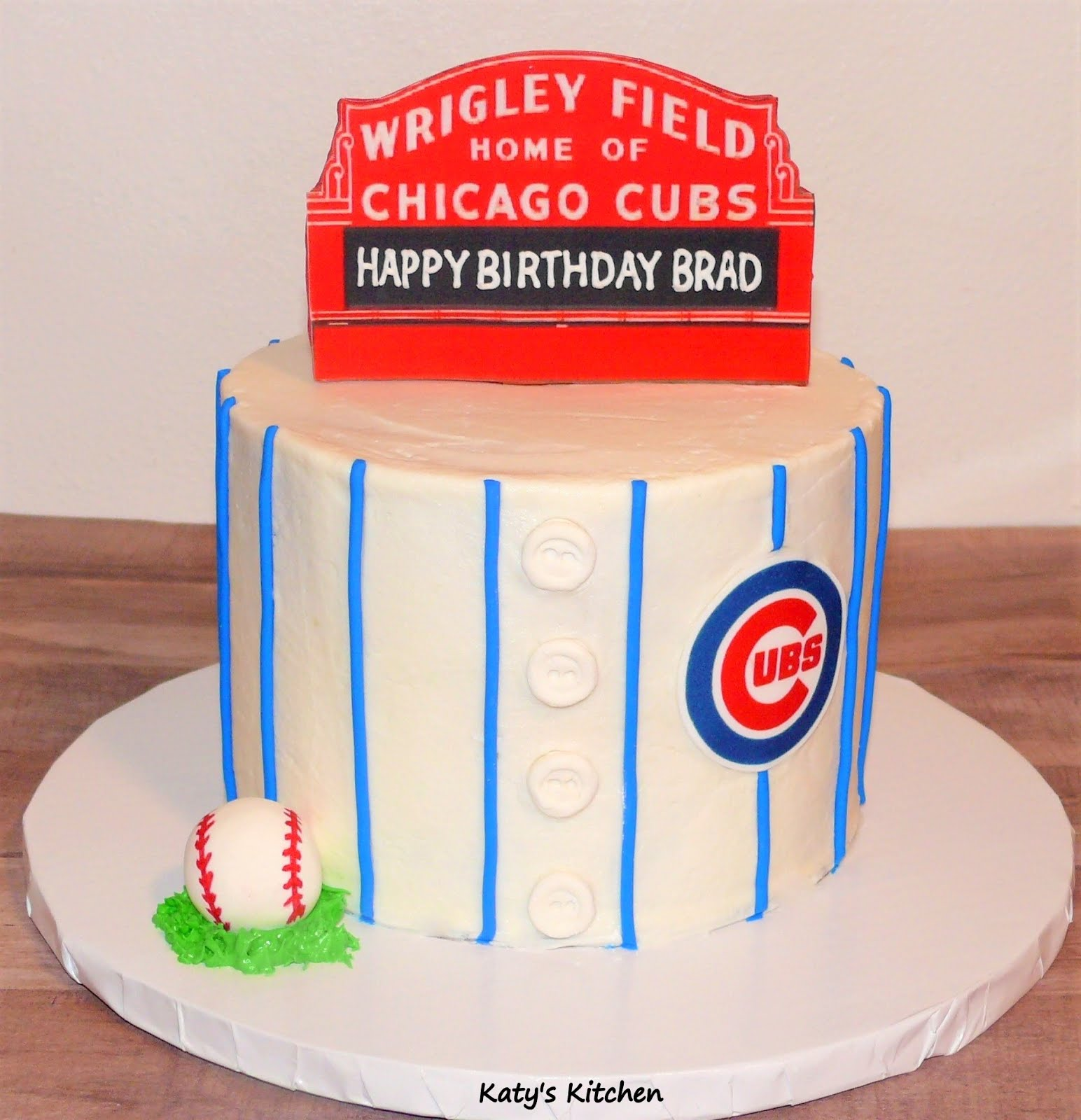Swell Katys Kitchen Chicago Cubs Birthday Cake Personalised Birthday Cards Petedlily Jamesorg