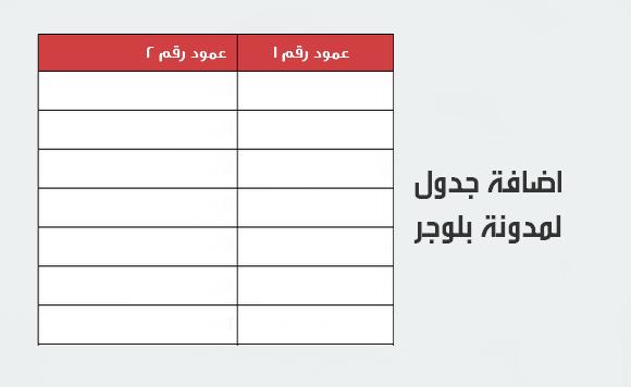 اضاف جدول لمدونة بلوجر