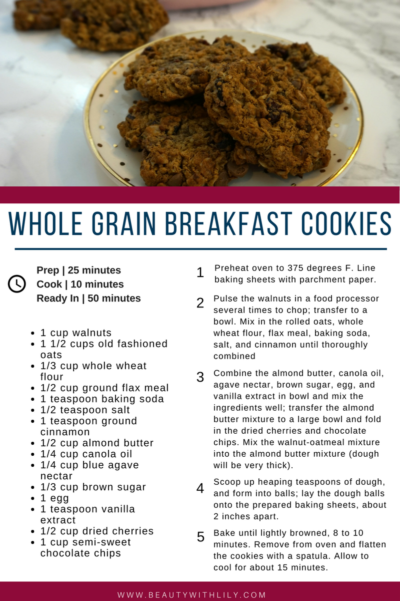 Breakfast On The Go | Whole Grain Breakfast Cookies // Easy Breakfast Ideas // Easy, Healthy Breakfast | beautywithlily.com