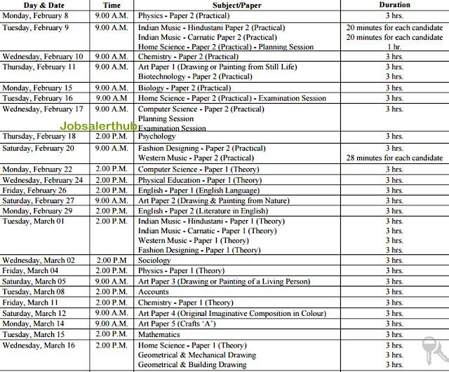 ICSE Board Date Sheet
