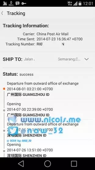 Tracking melalui aplikasi Aliexpress for android