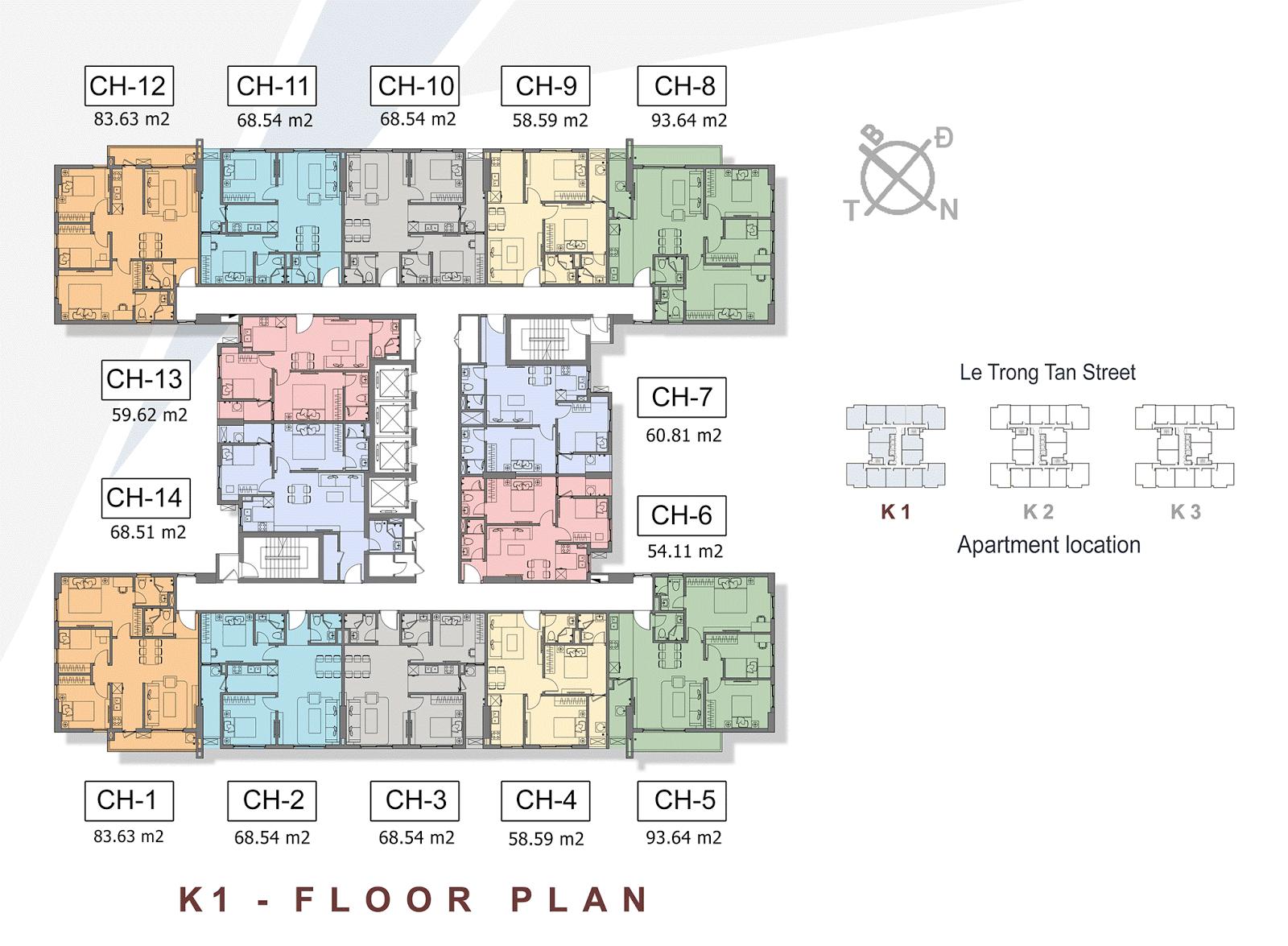 Mặt bằng điển hình tòa K1 - The K Park Văn Phú