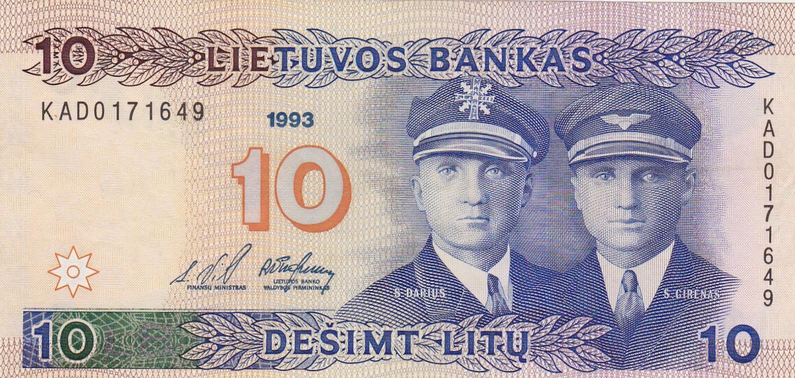 Lithuania banknotes 10 Litu banknote 1993 Lithuanian pilots: Steponas Darius and Stasys Girėnas