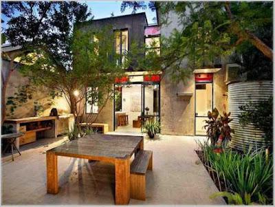 desain eksterior taman belakang rumah