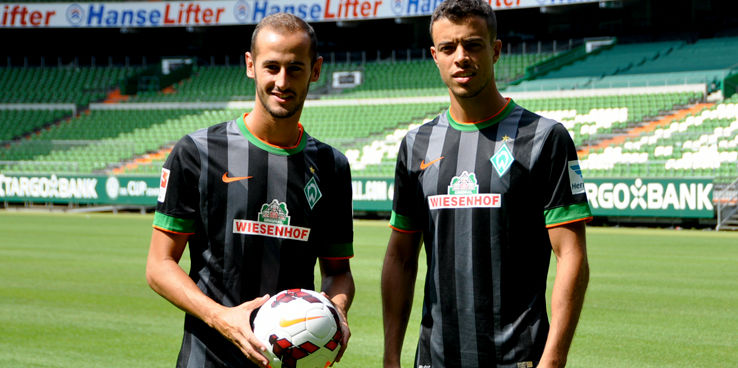 new werder bremen 14 15 home and away kits released footy headlines. Black Bedroom Furniture Sets. Home Design Ideas
