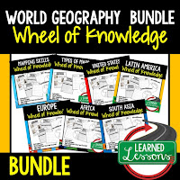 World Geography Activity, World Geography Interactive Notebook, World Geography Wheel of Knowledge (Interactive Notebook)