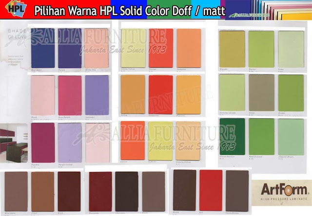 002.HPL solid color warna Art form doff