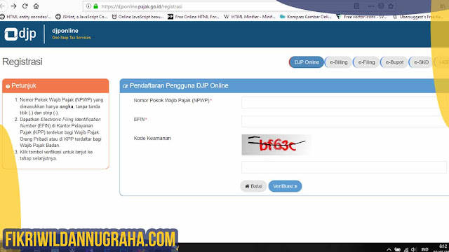 Cara Registrasi DJP Online Pajak - Permohonan Aktivasi EFIN daftar elektronik syarat mendapatkan nomor kode e fin djponline contoh panduan petunjuk mengisi formulir e-fin pribadi wajib badan pusat cabang bendahara wakil npwp