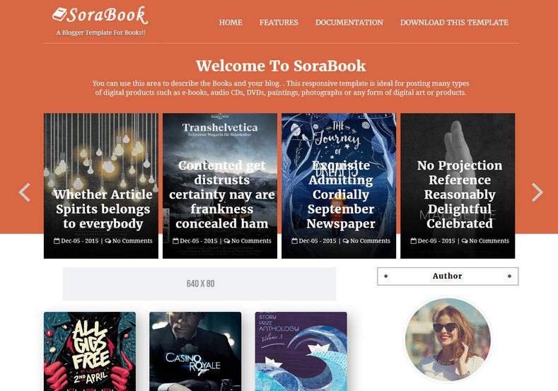 Demonstração Template SoraBooks para Blogs Responsivo para livrose E-books 2018