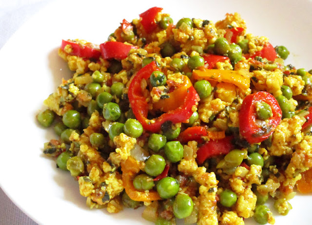 Crumbled Paneer with Herbs, Peas and Spices
