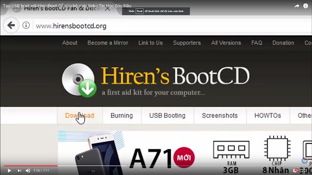 tao usd boot - Tạo USB Boot Với Hiren Boot Để Cứu Hộ Máy Tính