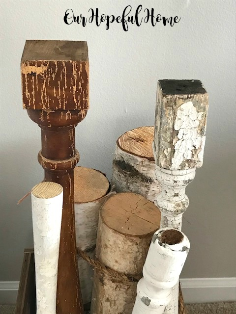 chipped vintage salvaged balusters white birch  logs