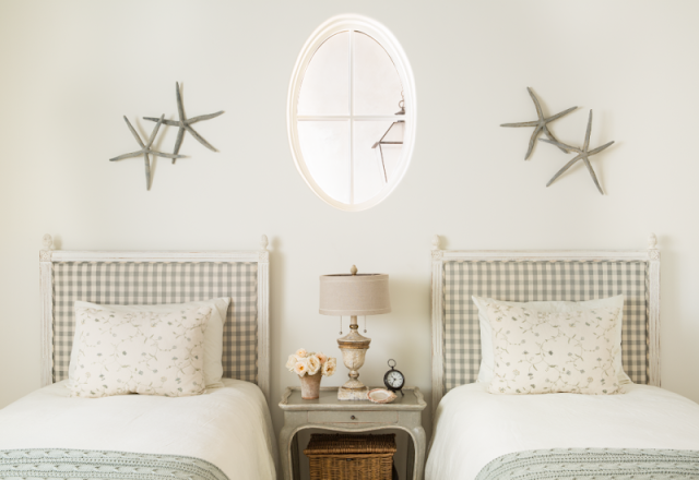 Breathtaking French Country modern farmhouse bedroom with twin beds by Giannetti Home - found on Hello Lovely Studio