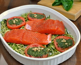Salmon with Pesto Zucchini Noodles & Warm Tomatoes