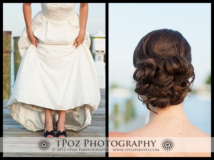 bridal up-do and blue shoes