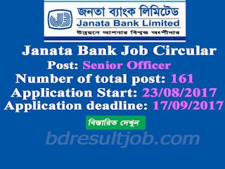 Janata Bank Limited (JBL) Senior Officer Job Circular 2017