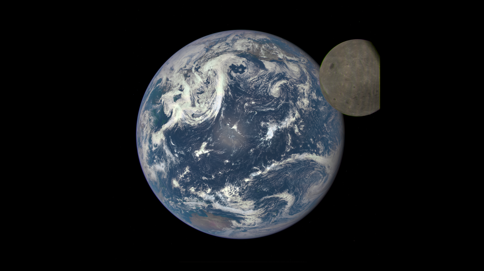 Earth and the far side of the Moon seen by DSCOVR