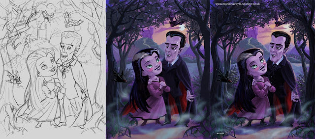 cute count and countess vampires WIP illustration M P Davey