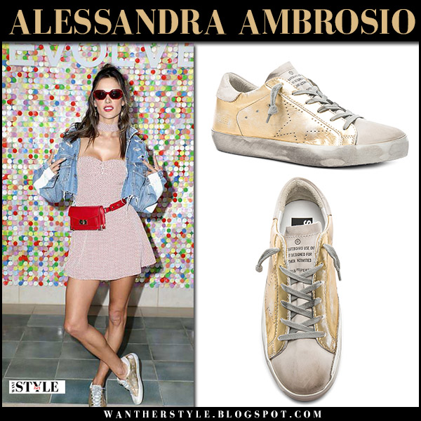 Alessandra Ambrosio in red mini dress, denim jacket and gold metallic sneakers golden goose superstar coachella style outfits april 15