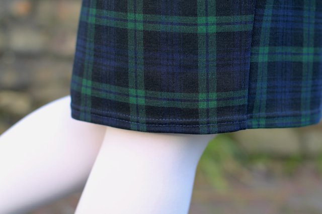 60s style white tights with blackwatch check