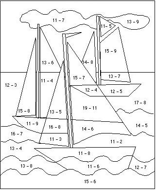 Yelkenli Cikarma Islemleri Boyama Calismasi 1 Sinif Matematik