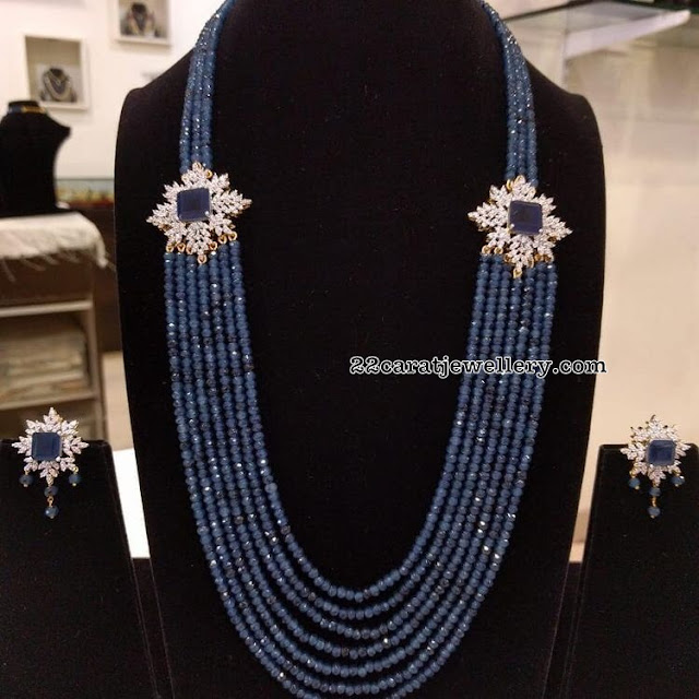 Blue Sapphires Long Set with Side Motifs