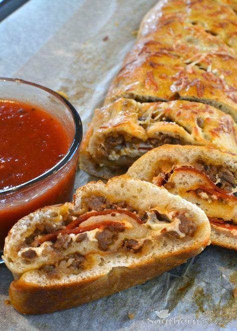 Sausage & Pepperoni Stromboli #Suasage #Pepperoni #Stromboli #Dinnerrecipe #Bestdinner #Vegan #Nobake #Simplydinner #Easydinner