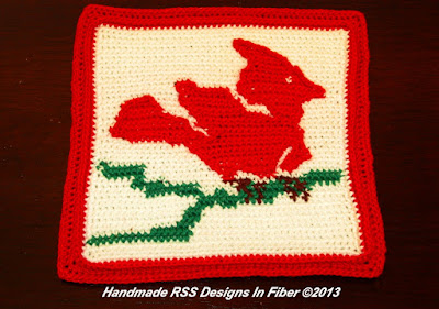 Red Cardinal Crochet Tapestry Tile - Handmade By Ruth Sandra Sperling at RSS Designs In Fiber