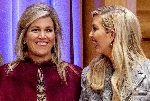 Queen Maxima wore Burberry London trench coat, she wore Natan dress and Gianvito Rossi pumps. Ivanka Trump at a initiative meeting