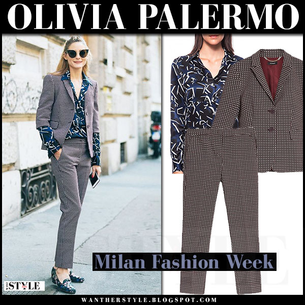 Olivia Palermo in burgundy geometric jacquard blazer max and co and matching trousers with blue silk shirt paul and joe what she wore milan fashion week