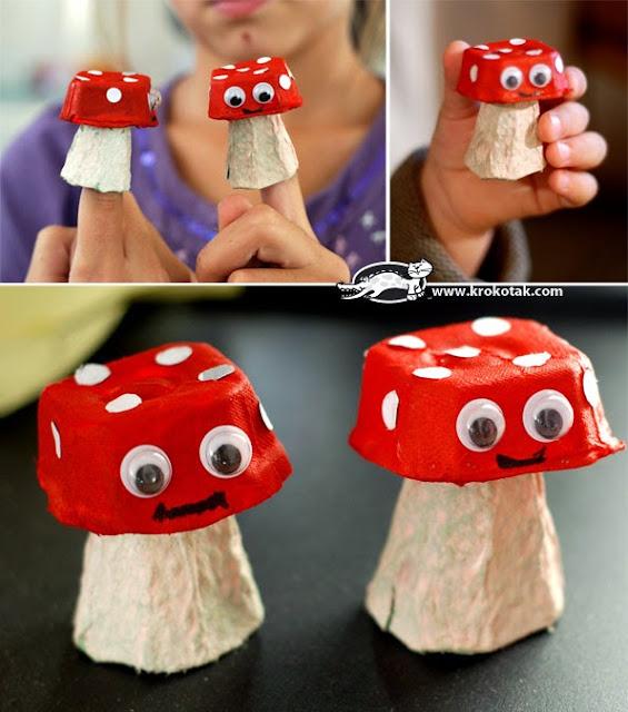 Cogumelos com caixa de ovo para a primavera