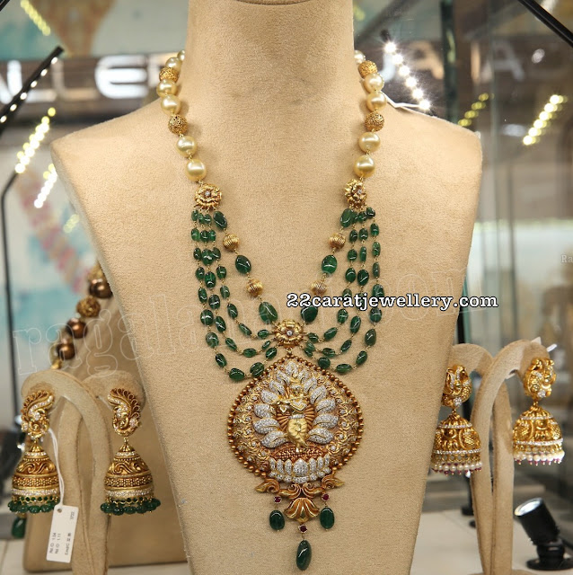 Three Emerald Beads Set by Pavitra Jewellers