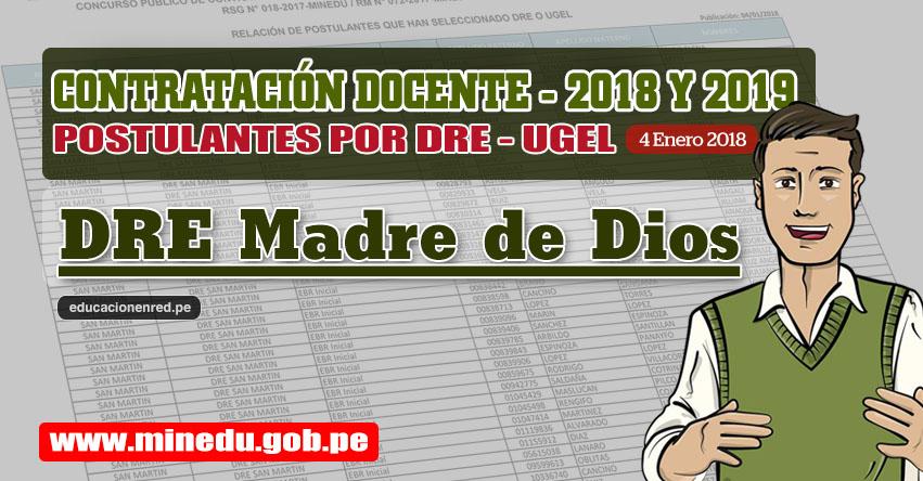 DRE Madre de Dios: Lista de Postulantes por UGEL DRE - Contrato Docente 2018 (.PDF) www.dredmdd.gob.pe