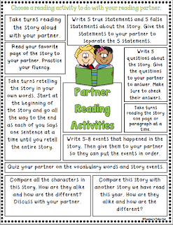 Partner Reading Activities to help spark a conversation