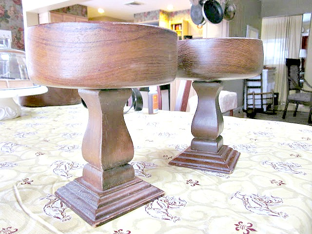 Before picture of wooden bowls on top of candle sticks