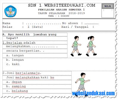 Soal PH/ UH PJOK Kelas 1 Tema 1 K13 Tahun 2018/2019