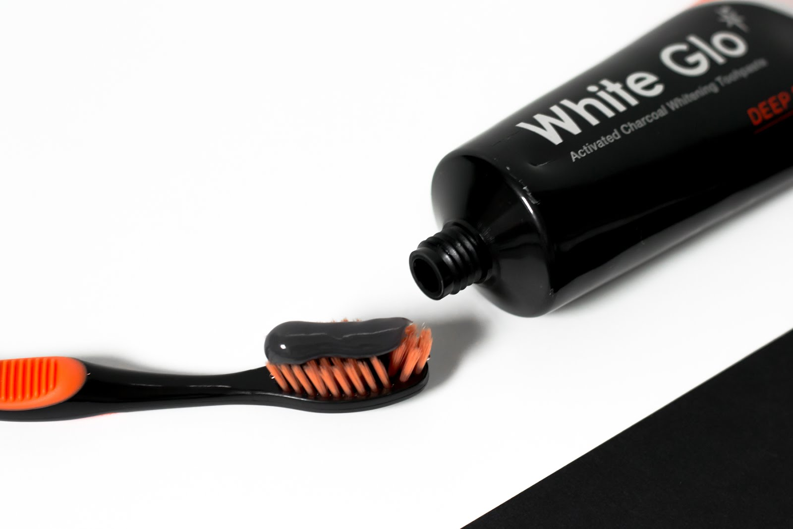 White glo charcoal toothpaste, black, minimal